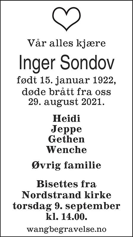 Inger Marie Sondov Dødsannonse