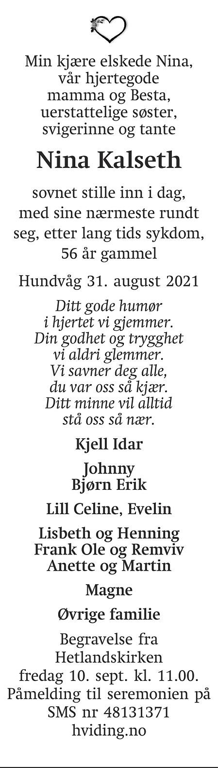 Nina Kalseth Dødsannonse