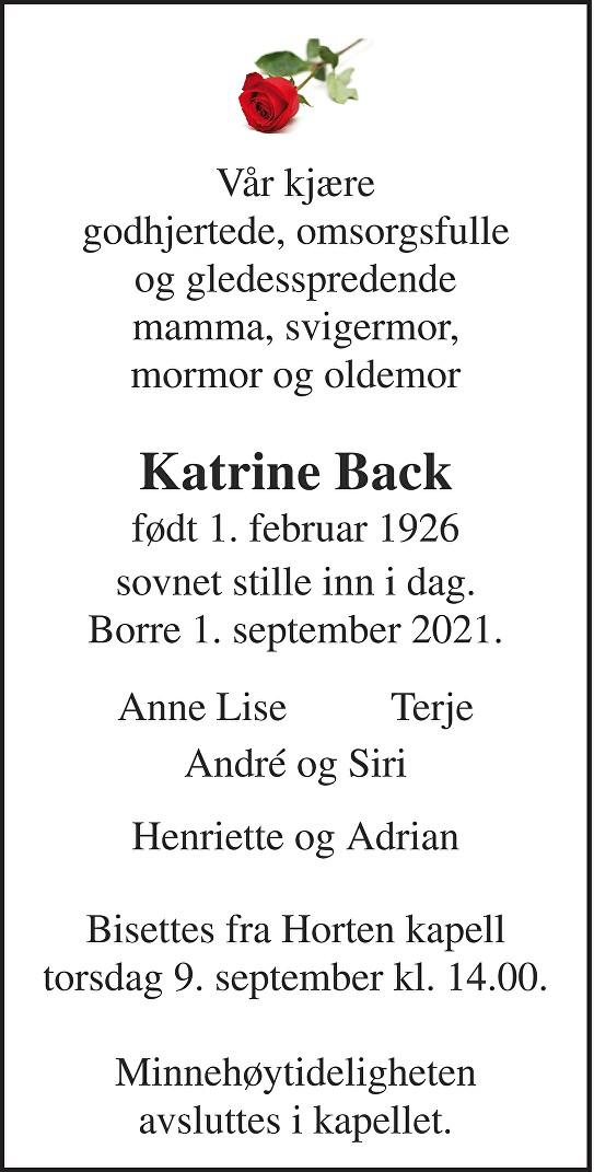 Katrine Back Dødsannonse