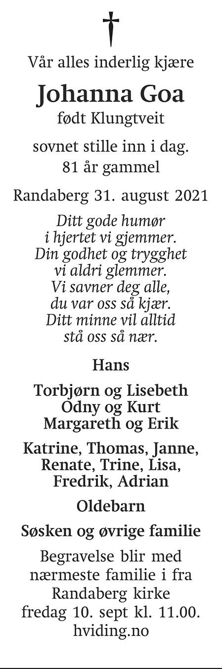 Johanna Goa Dødsannonse
