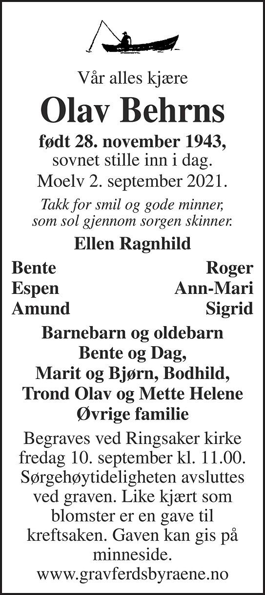 Olav Behrns Dødsannonse