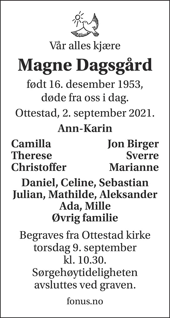 Magne Dagsgård Dødsannonse