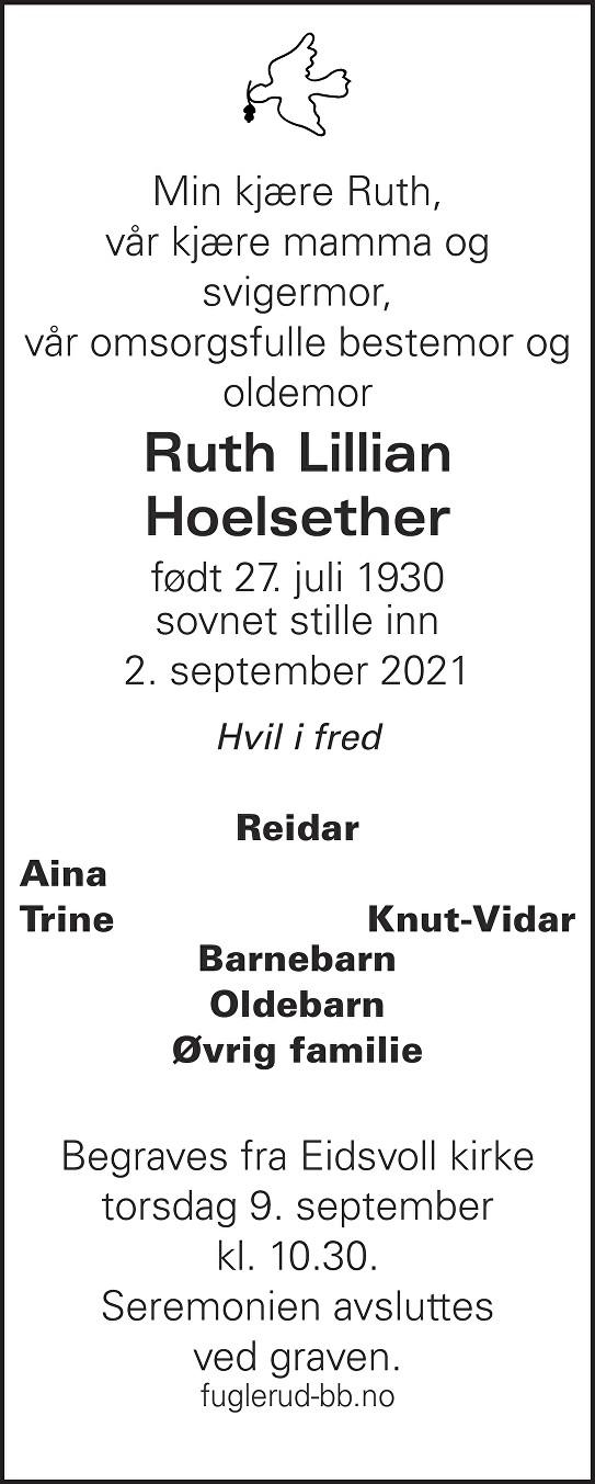 Ruth Lillian Hoelsether Dødsannonse