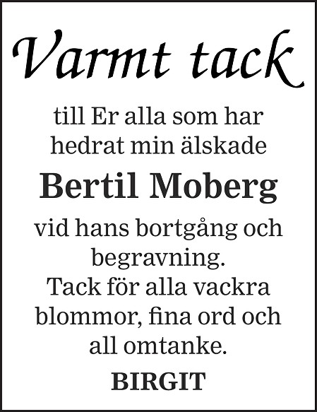 Bertil Moberg Death notice