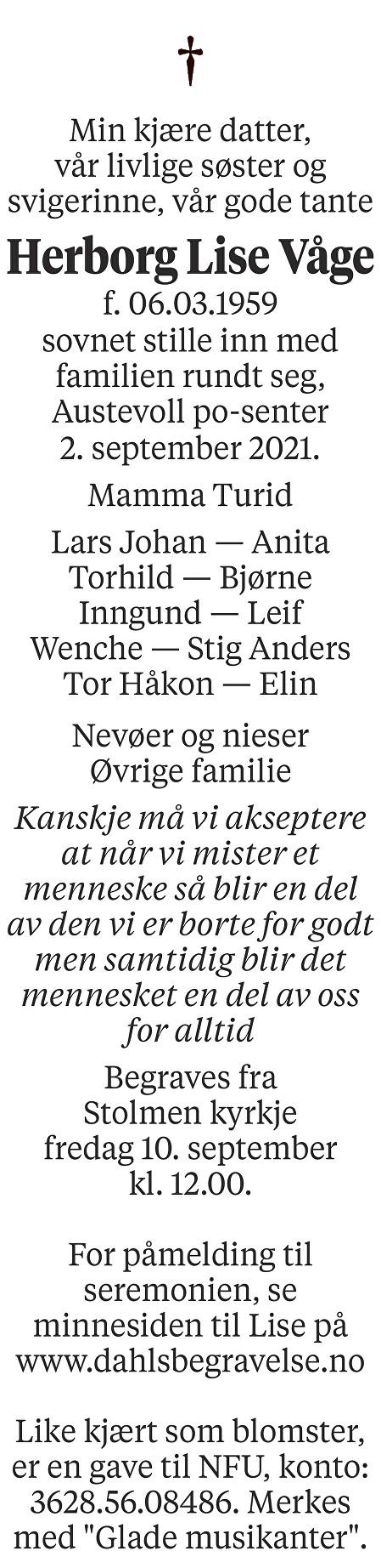 Herborg Lise Våge Dødsannonse