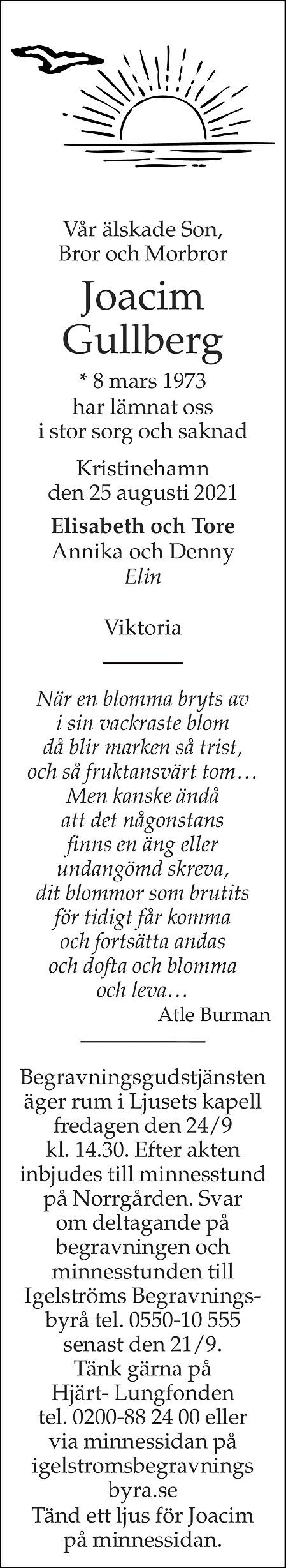Joacim Gullberg Death notice