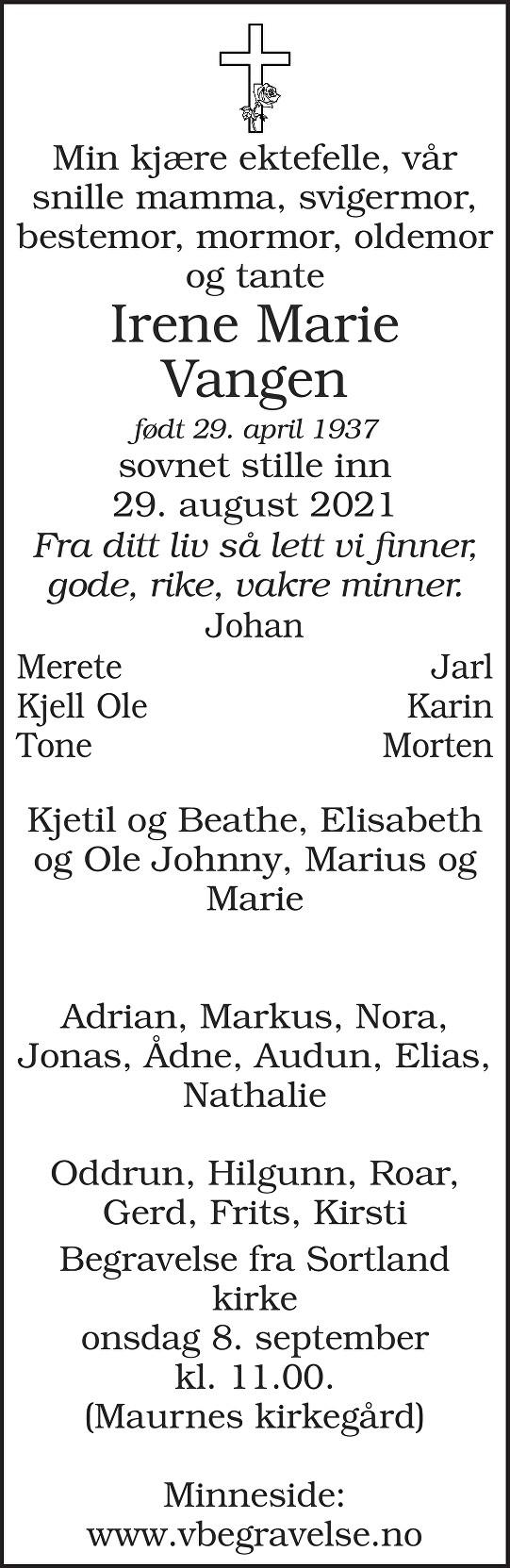 Irene Marie Vangen Dødsannonse
