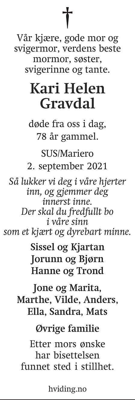 Kari Helen Gravdal Dødsannonse