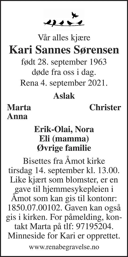 Kari Sannes Sørensen Dødsannonse