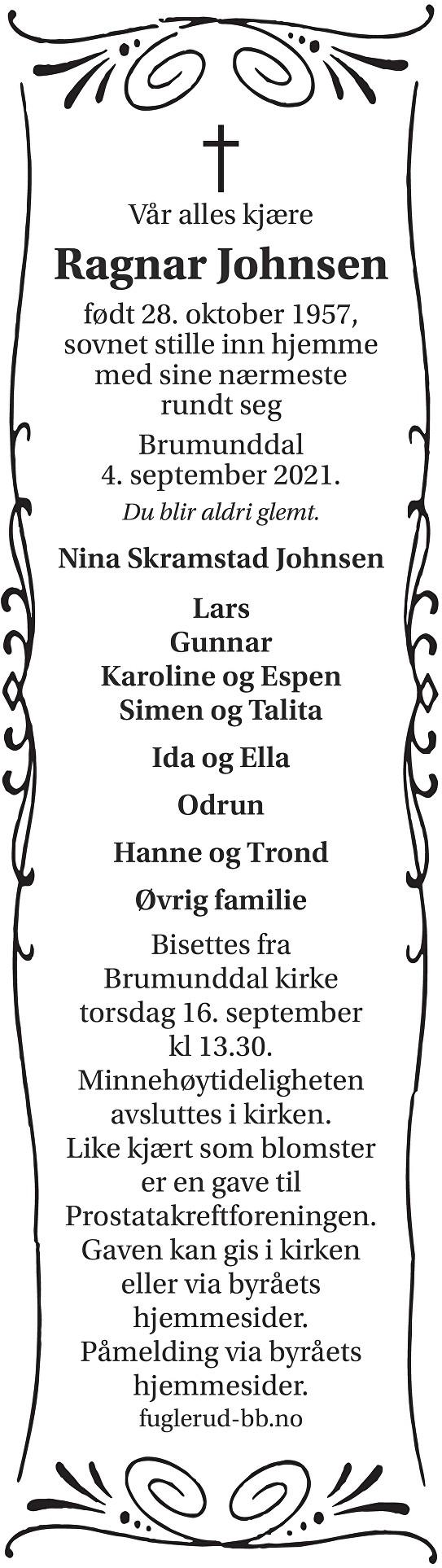 Ragnar Johnsen Dødsannonse