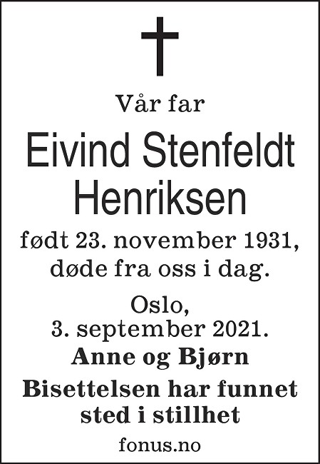 Eivind Henriksen Dødsannonse