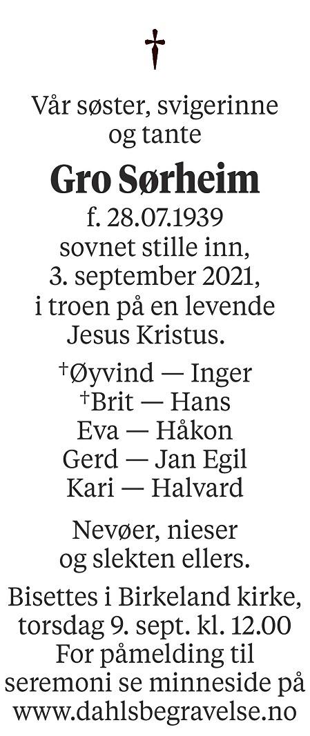 Gro Sørheim Dødsannonse