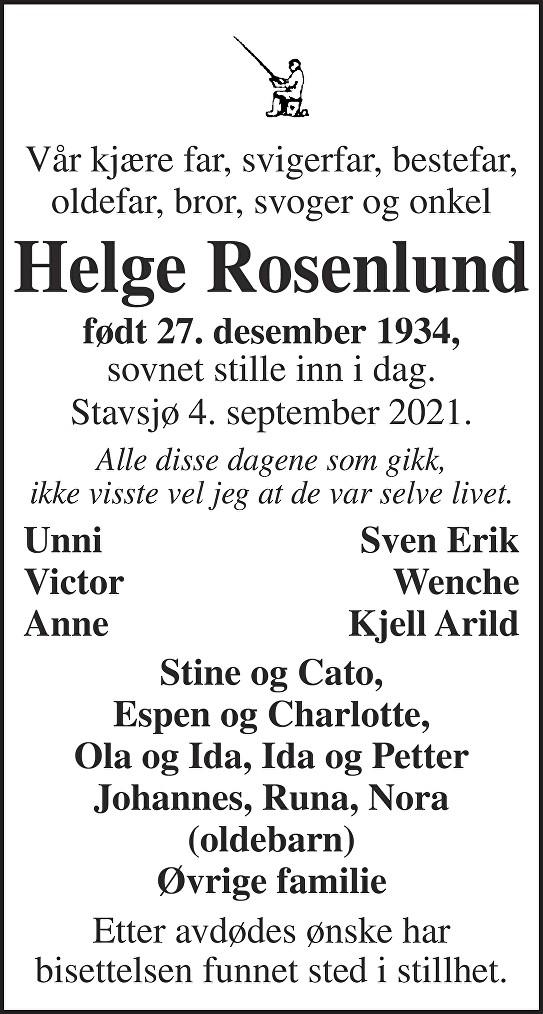 Helge  Rosenlund  Dødsannonse