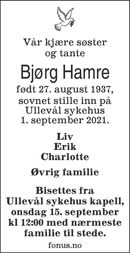 Bjørg Hamre Dødsannonse