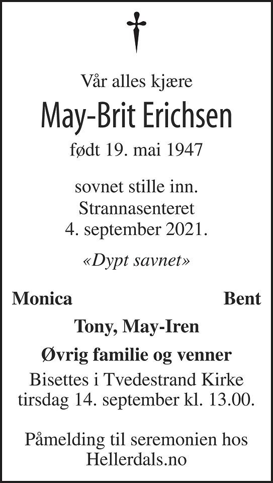 May-Brit Erichsen Dødsannonse