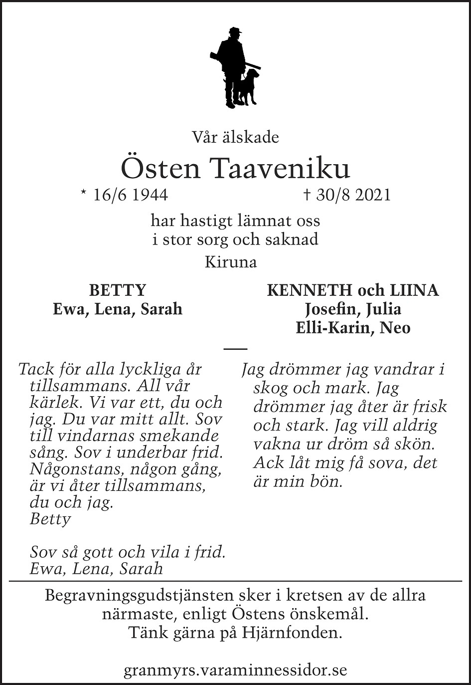 Östen Taaveniku Death notice