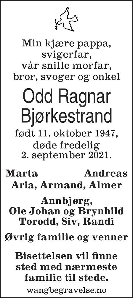 Odd Ragnar Bjørkestrand Dødsannonse