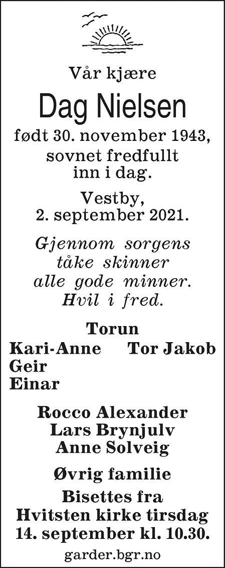Bjarne Dag Nielsen Dødsannonse