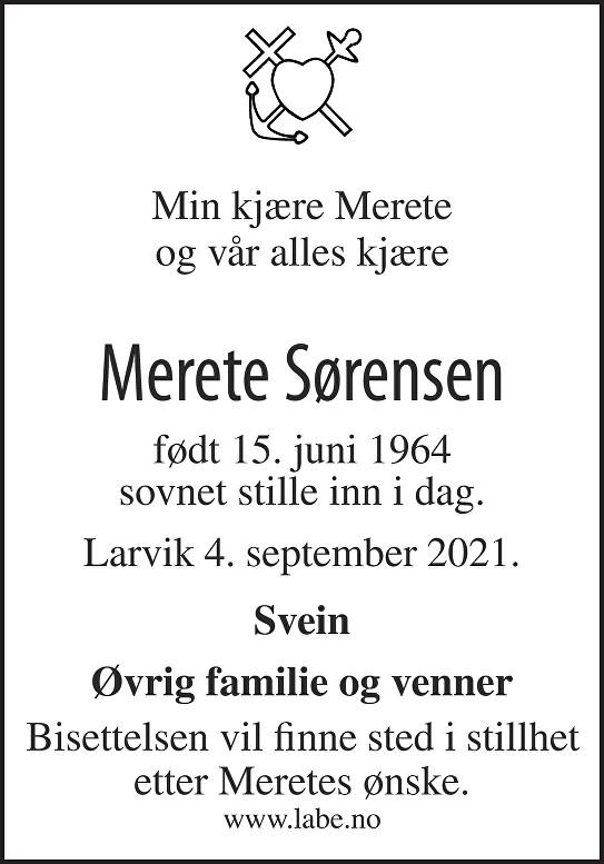 Merete Sørensen Dødsannonse