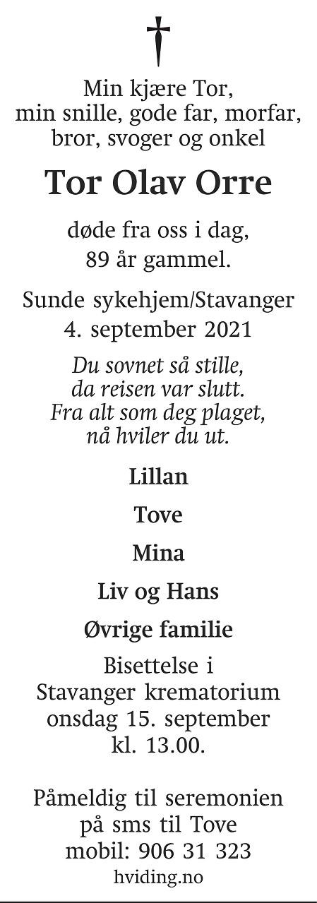 Tor Olav Orre Dødsannonse