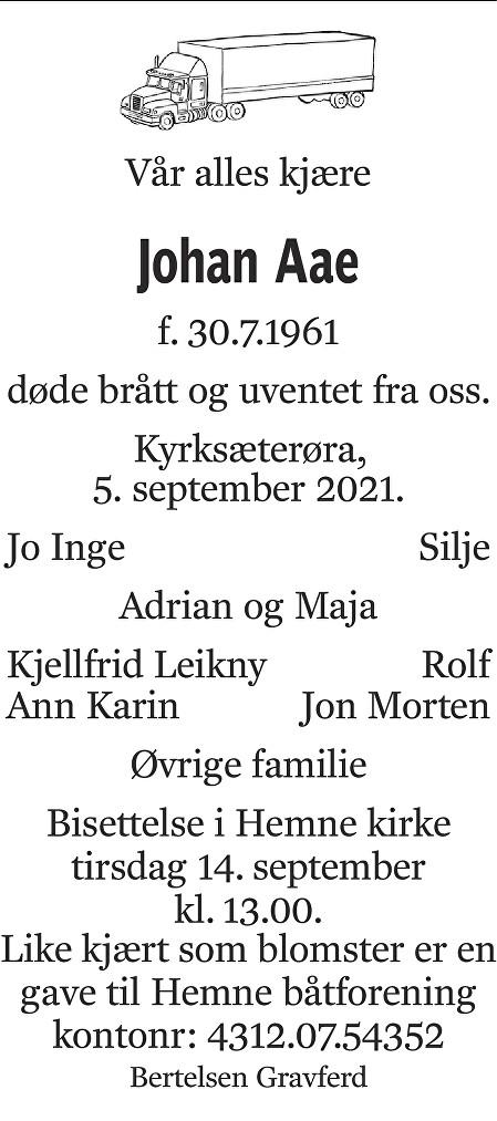 Johan Aae Dødsannonse