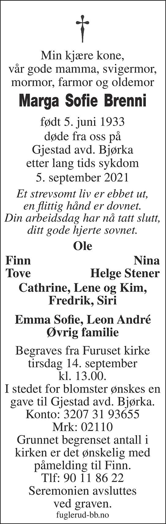 Marga Sofie Brenni Dødsannonse