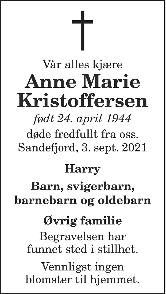 Anne Marie Kristoffersen Dødsannonse