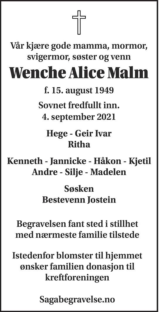 Wenche Alice Malm Dødsannonse