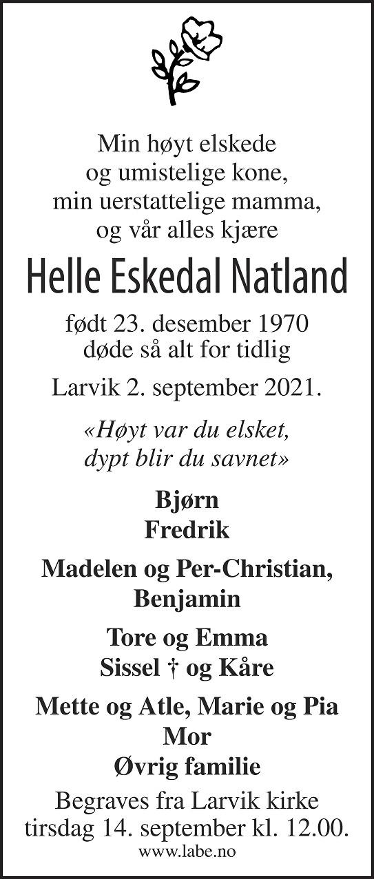 Helle Eskedal Natland Dødsannonse