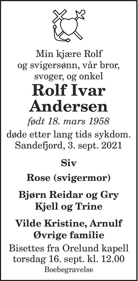 Rolf Ivar Andersen Dødsannonse