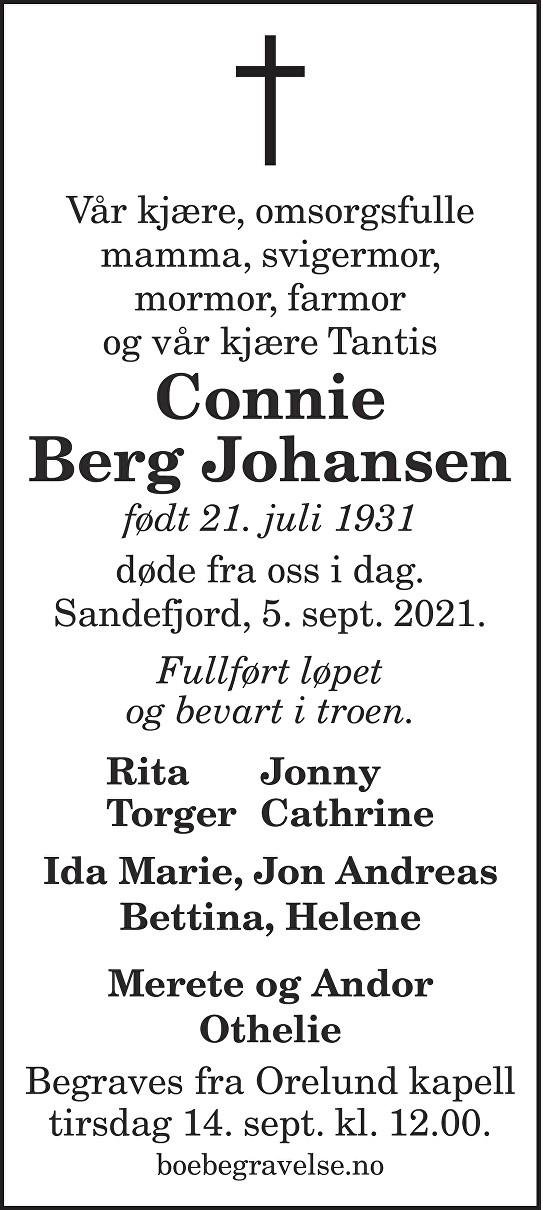 Connie Berg Johansen Dødsannonse