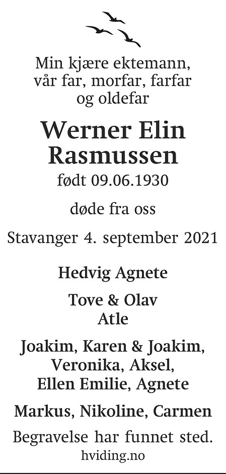 Werner Elin Rasmussen Dødsannonse