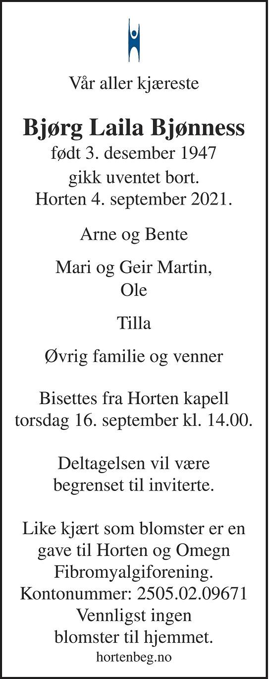 Bjørg Laila Bjønness Dødsannonse