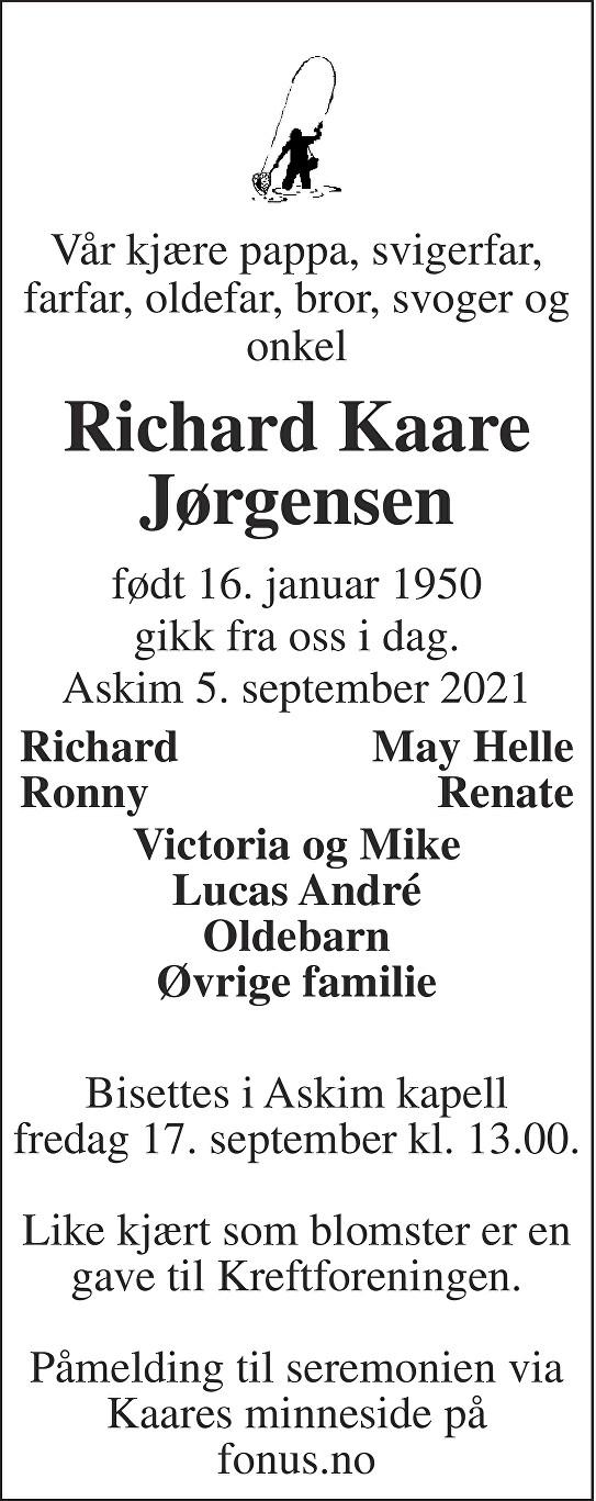 Richard Kaare Jørgensen Dødsannonse
