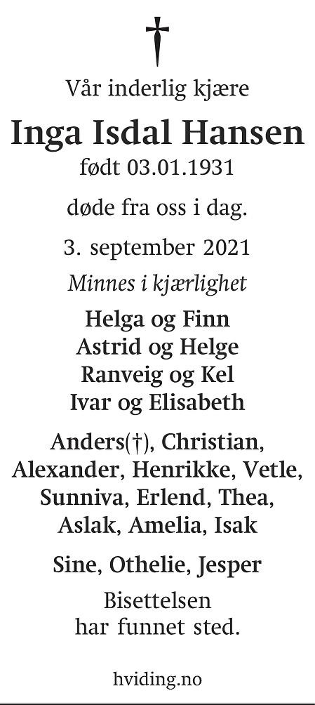 Inga Isdal Hansen Dødsannonse