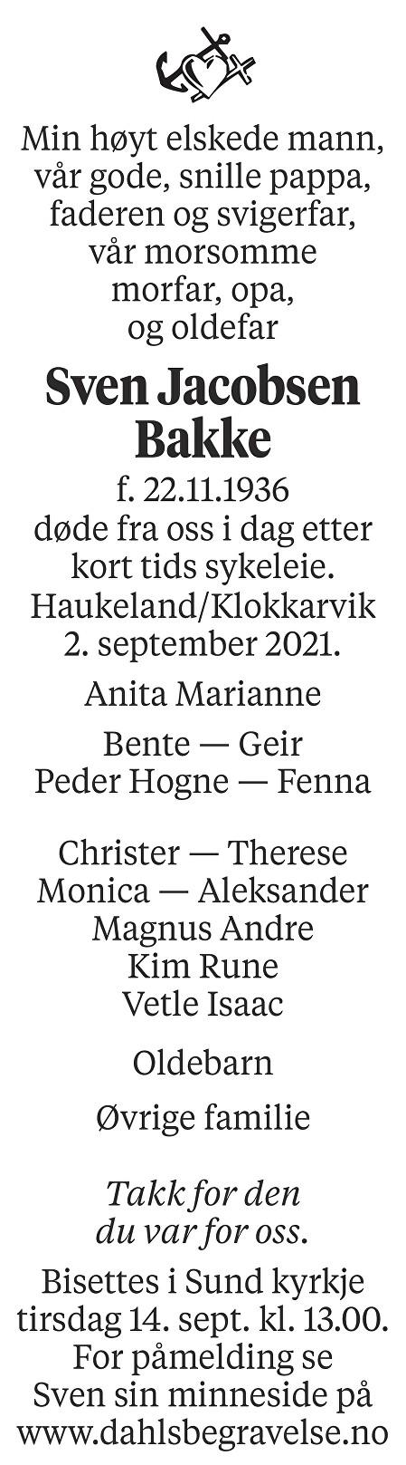 Sven Jacobsen Bakke Dødsannonse
