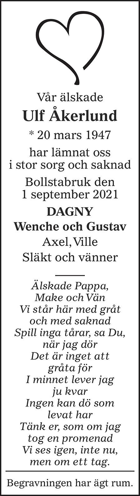 Ulf Åkerlund Death notice