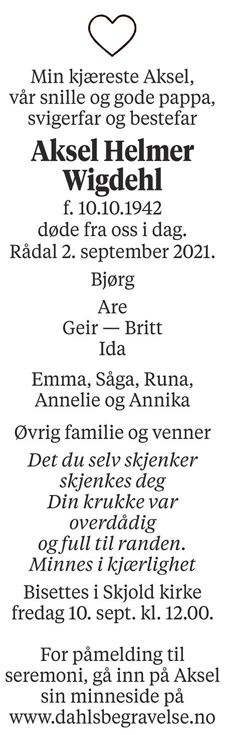 Aksel Helmer Wigdehl Dødsannonse