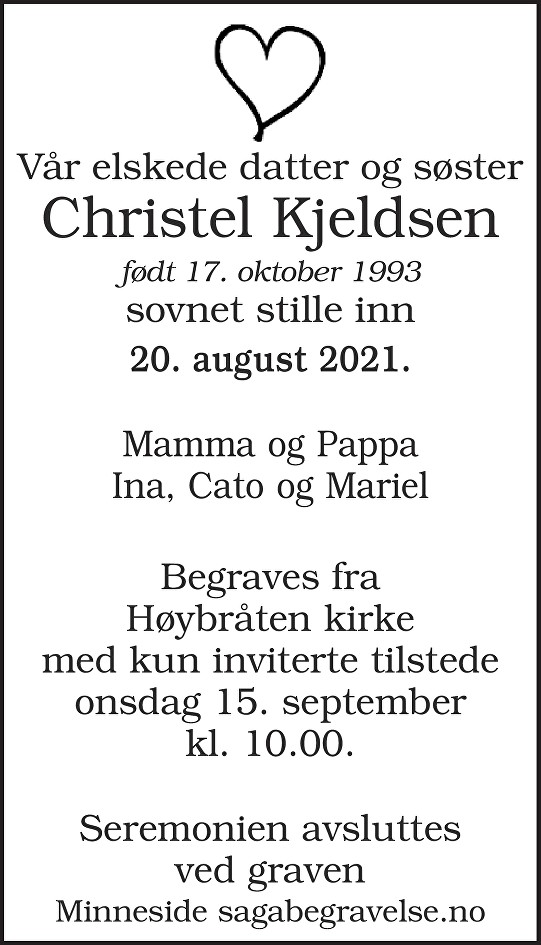 Christel Kjeldsen Dødsannonse