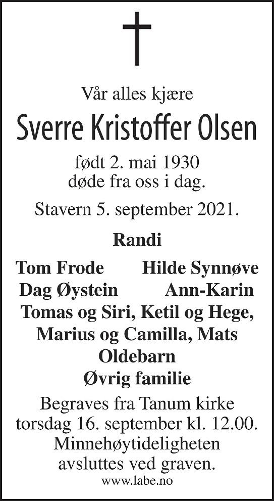 Sverre Kristoffer Olsen Dødsannonse
