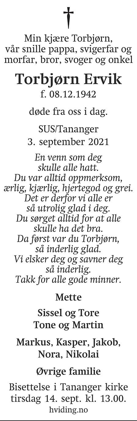 Torbjørn Ervik Dødsannonse