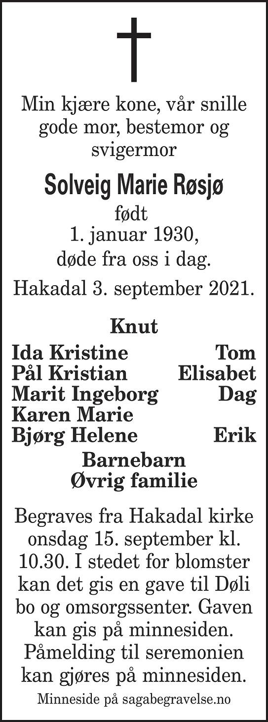 Solveig Marie  Røsjø Dødsannonse