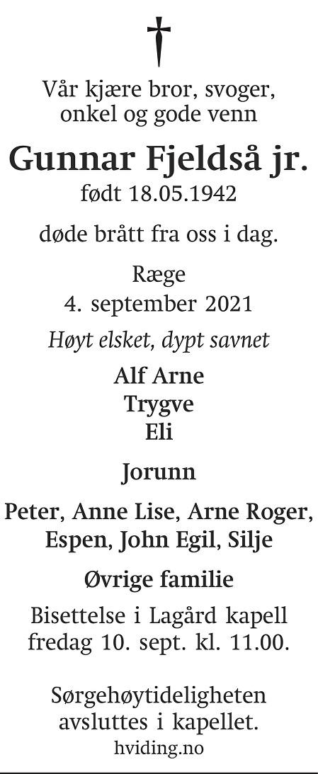 Gunnar Fjeldså jr. Dødsannonse