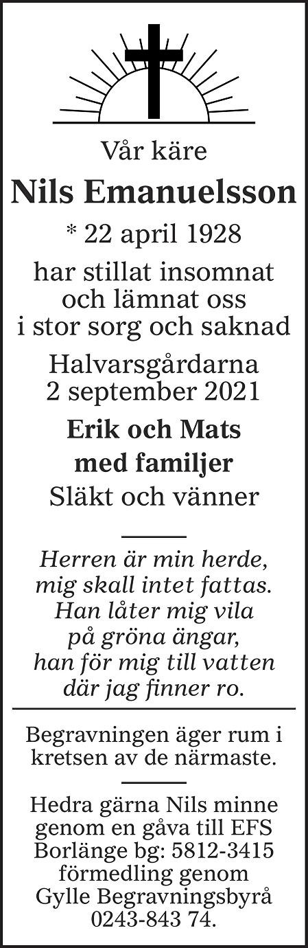 Nils Emanuelsson Death notice