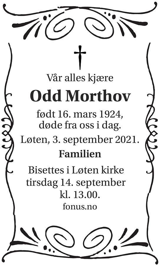 Odd Morthov Dødsannonse