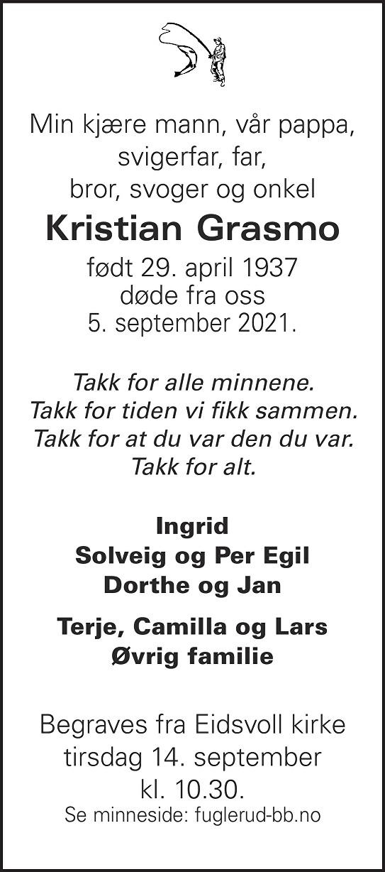 Kristian Gustav Grasmo Dødsannonse