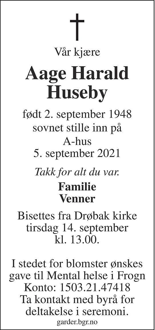 Aage Harald Huseby Dødsannonse