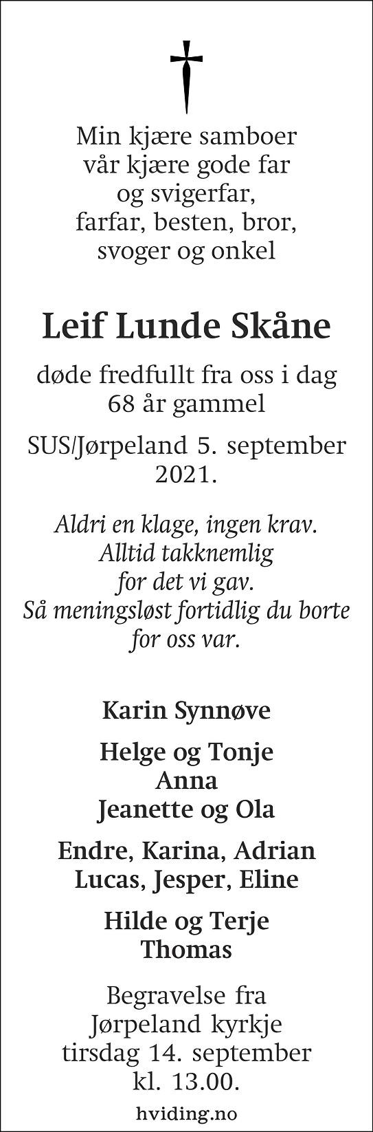 Leiv Lunde Skåne Dødsannonse