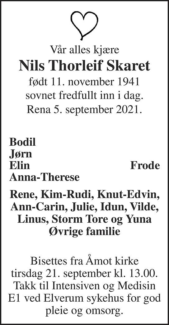 Nils Thorleif Skaret Dødsannonse