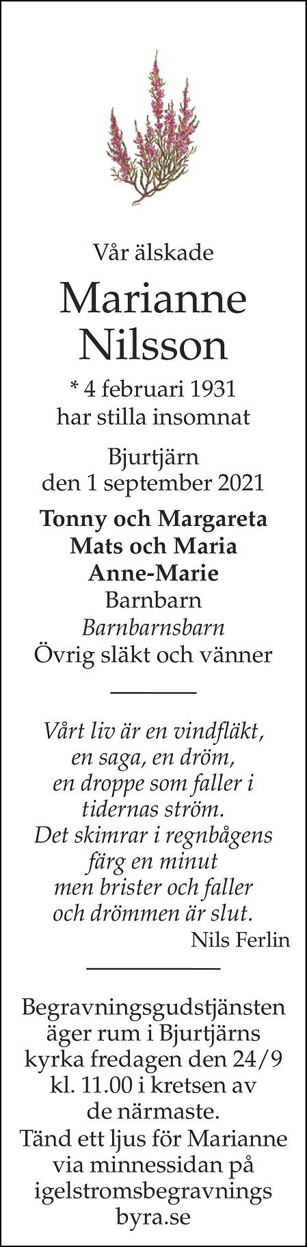Marianne Nilsson Death notice
